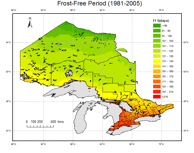 Ontario Frost-Free Season (FFS) Change Projection